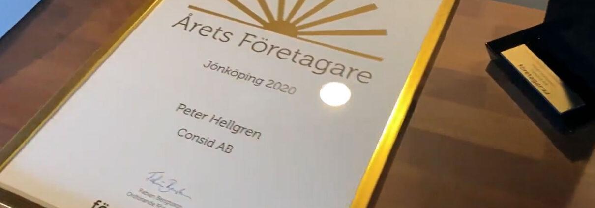 consid arets foretagare 1210x423 - Peter Hellgren - Årets företagare i Jönköping 2020